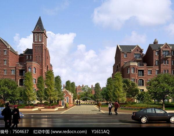 英式住宅区入口效果图图片