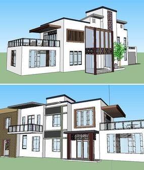 中式别墅模型建筑草图大师SU模型