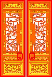 中式建筑大门装饰图案CAD