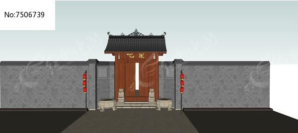 中式农家大门模型图片