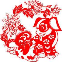 中式小狗花纹图案