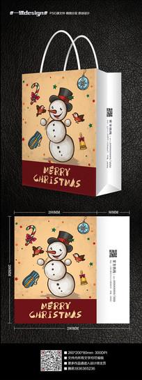 2016手绘插画圣诞雪人手提袋纸袋