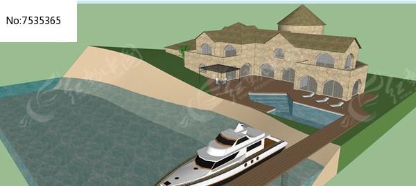 滨水别墅设计模型图片