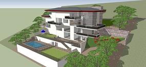 多层山地别墅设计模型