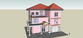 粉色别墅设计模型