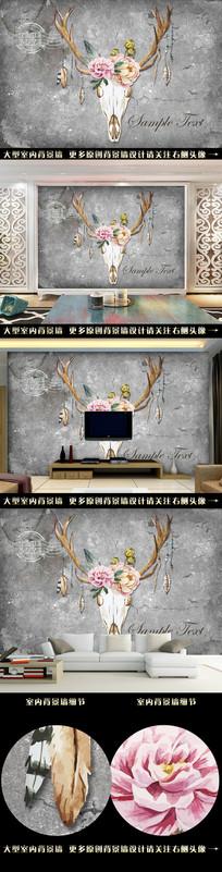复古手绘水彩鹿电视背景墙