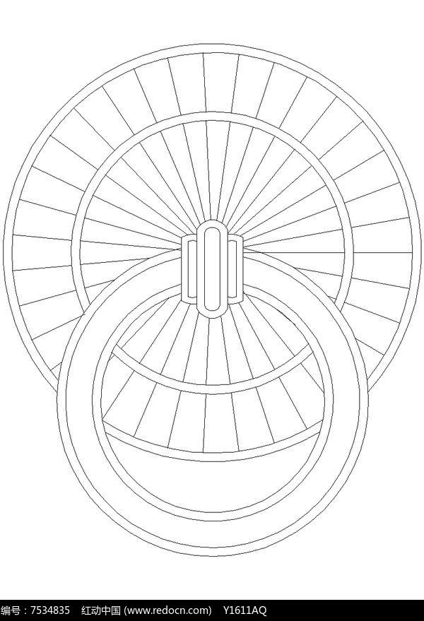 古建圆形门环CAD图块图片
