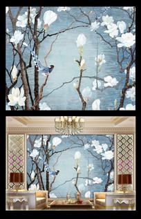 花鸟壁画墙纸装饰画中式墙布玉兰花