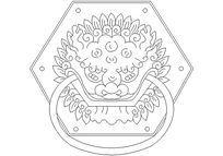六边形龙纹门环CAD