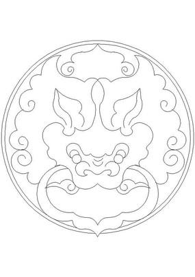 龙纹圆形门环CAD