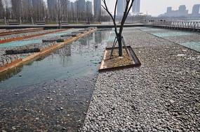 卵石玻璃水景铺装