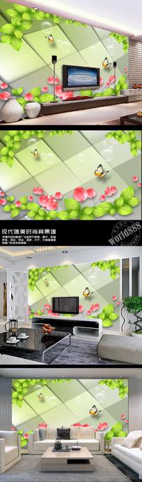 绿色叶子荷花荷塘立体菱形3D时尚背景墙