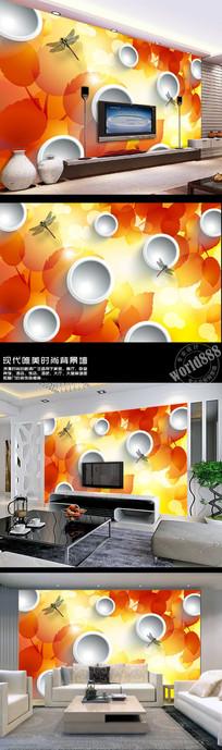 梦幻枫叶蜻蜓3D时尚背景墙