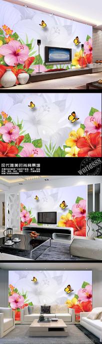 手绘花朵蝴蝶飞舞时尚背景墙