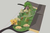 小庭院su模型 skp