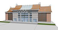 新中式汽车站建筑模型
