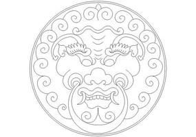 圆形龙纹门环