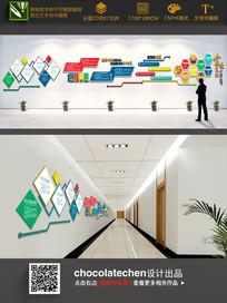 彩色企业文化墙特殊造型 CDR