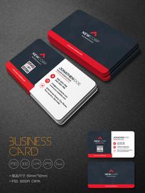 红色精致企业商务名片模板