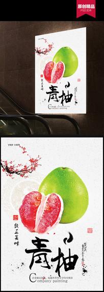 红心柚子水果特产美食海报