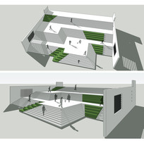 景观大台阶SU模型