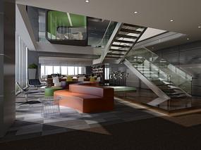 开敞办公区和休息区3DMAX模型和效果图