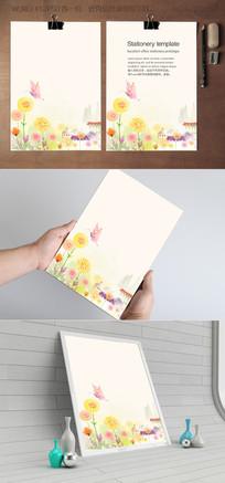 乡村自然水彩信纸