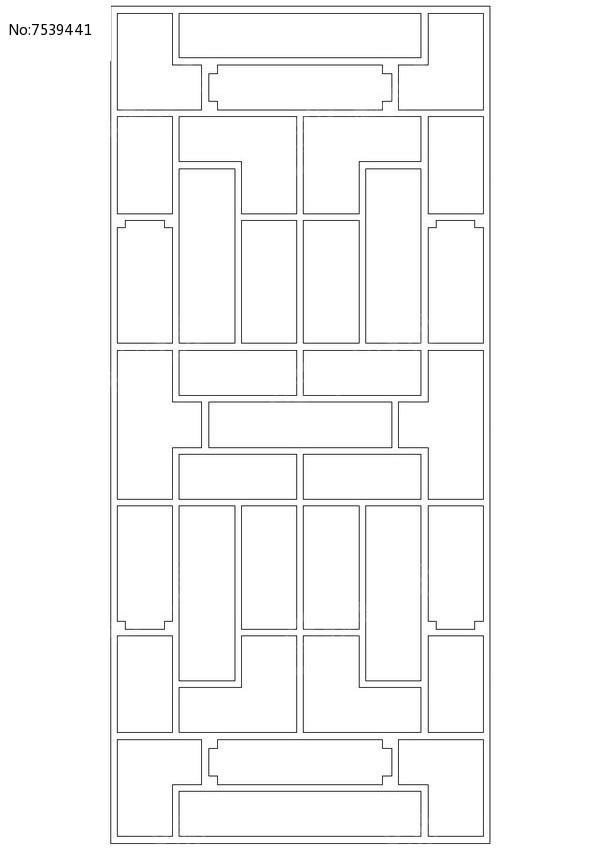长方形规则镂空花窗图片