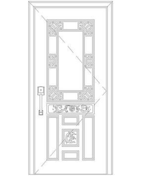 方形中式花纹单扇门