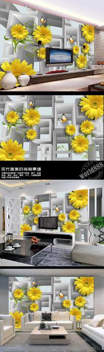金色太阳花立体空间时尚3D背景墙