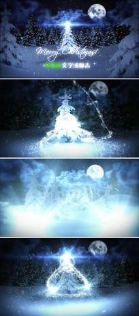蓝色魔幻粒子圣诞节ae片头模板