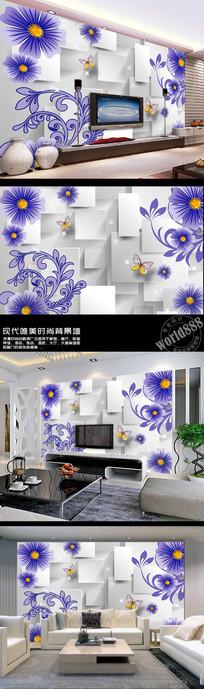 蓝色小花立体方形时尚3D背景墙