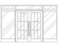 门厅玻璃铁艺门CAD dwg