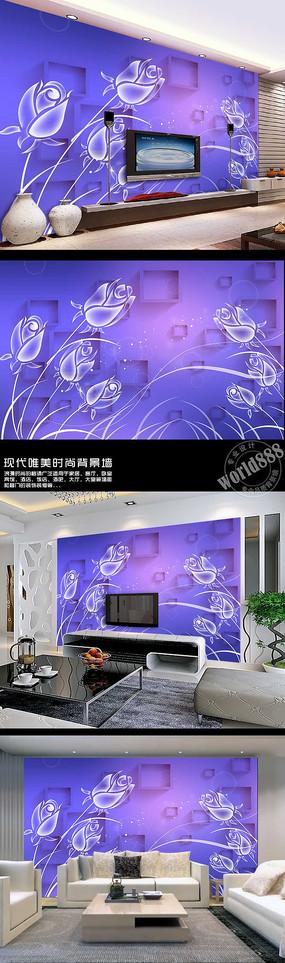 透明花朵立体方框时尚3D背景墙