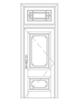 中式花纹单扇门
