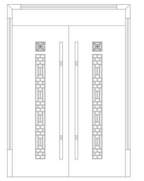 中式花纹双扇门
