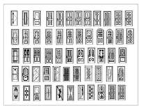 各式造型单扇门CAD立面图块