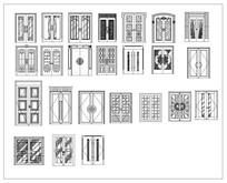 各式造型双扇门CAD立面图块