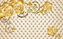 金色玫瑰3d立体软包背景墙