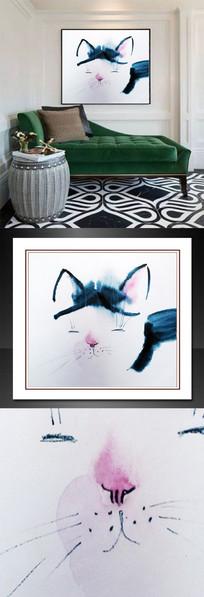 卡通猫油画无框画