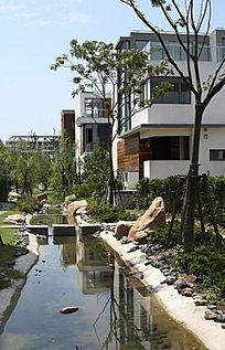特色别墅小溪水景意向图