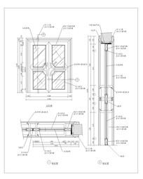 现代不锈钢拉手玻璃木门CAD做法 dwg