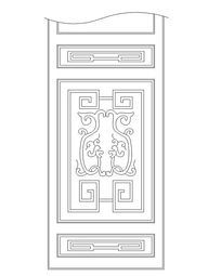 中式花纹隔扇门CAD图块