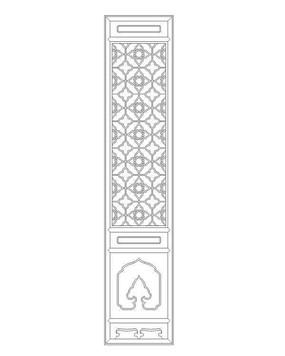 中式花纹隔扇门