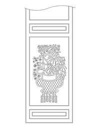 中式植物图案隔扇门