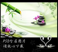 竹子蝴蝶兰鹅卵石清新背景墙