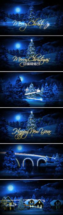 蓝色粒子圣诞节开场片头模板