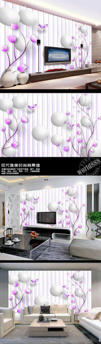 手绘花朵立体圆球3D时尚背景墙