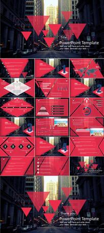 扁平化红色商务风格PPT模版