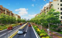 城市住宅区路段景观 PSD